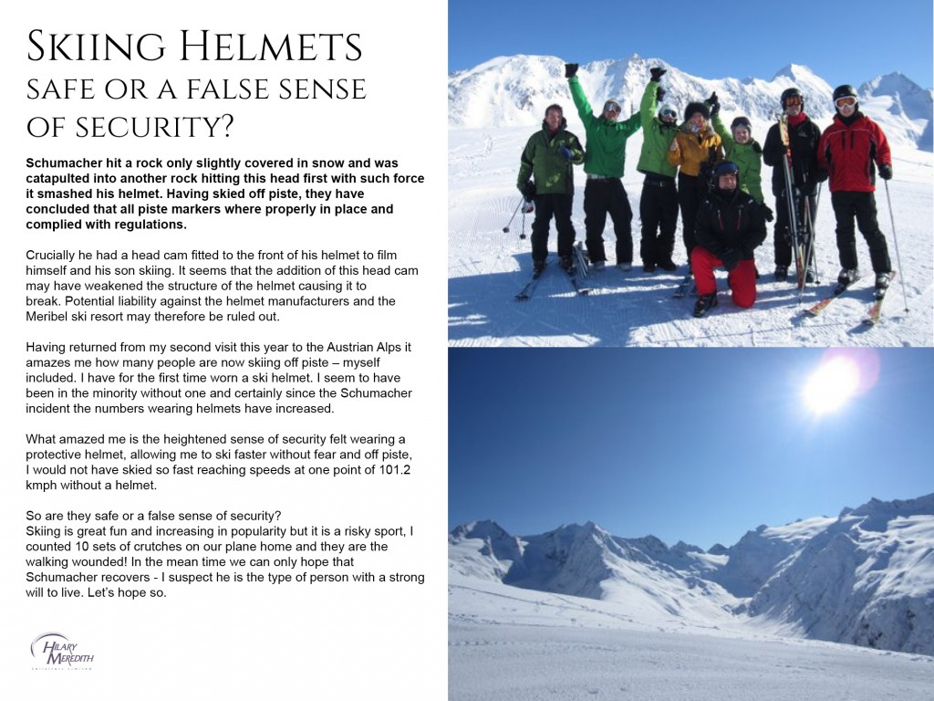 Skiing Helmets Hilary Meredith Solicitors